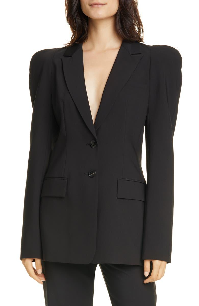 TIBI Sculpted Sleeve Tropical Blazer, Main, color, BLACK