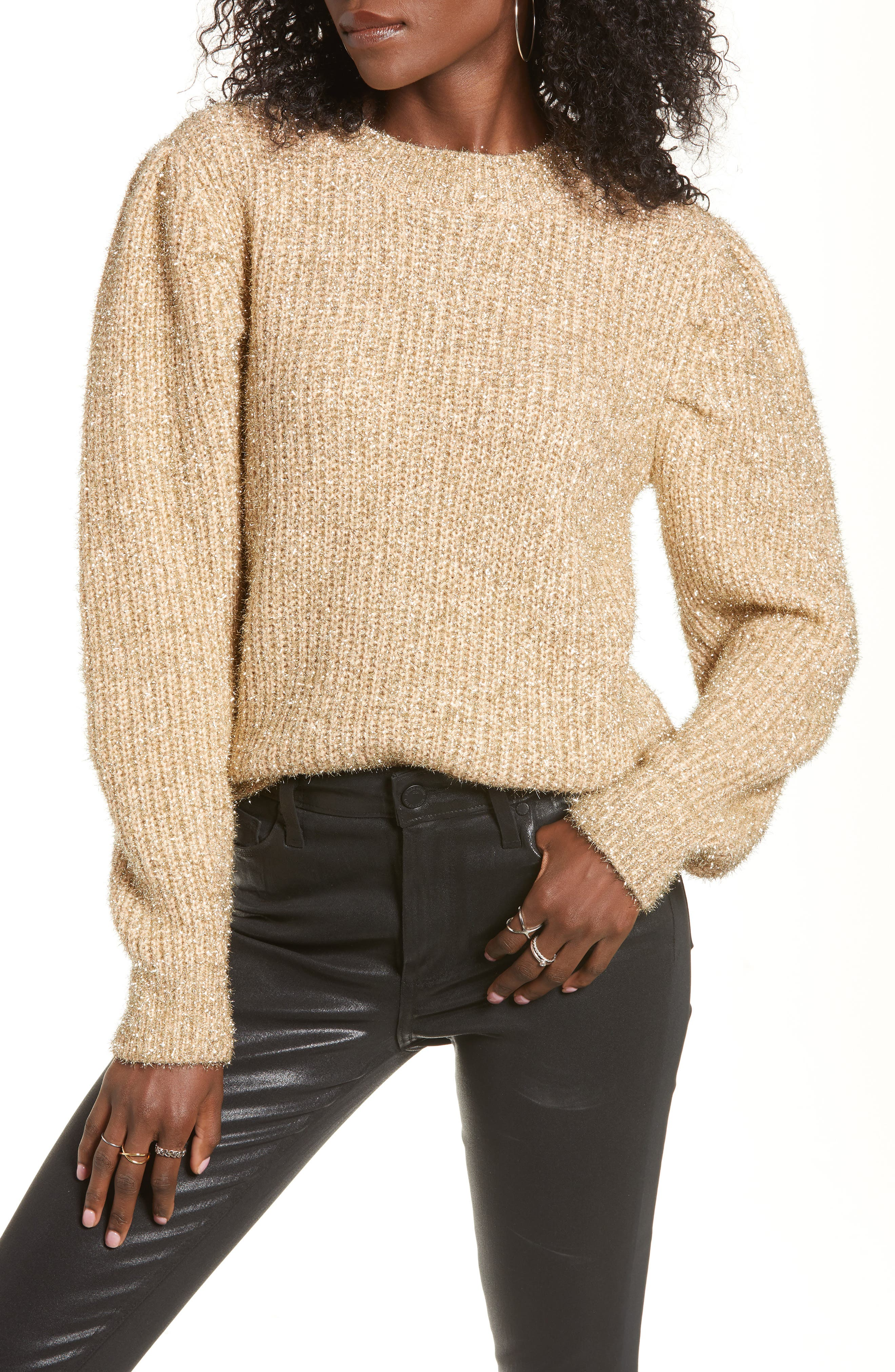 Metallic Puff Shoulder Sweater by English Factory