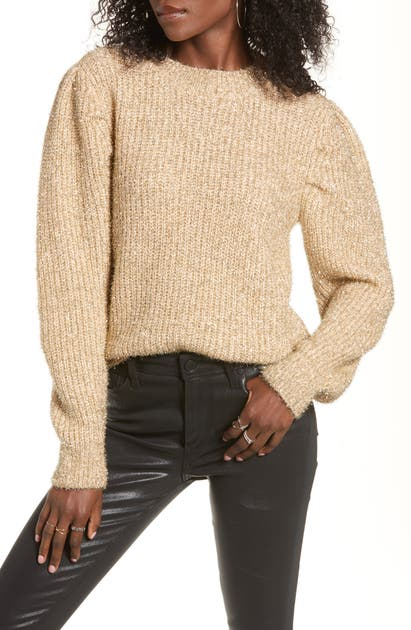 English Factory Metallic Puff Shoulder Sweater In Gold