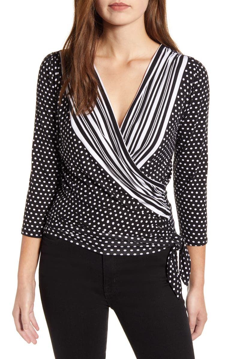 LOVEAPPELLA Loveapella Mixed Print Faux Wrap Top, Main, color, 001