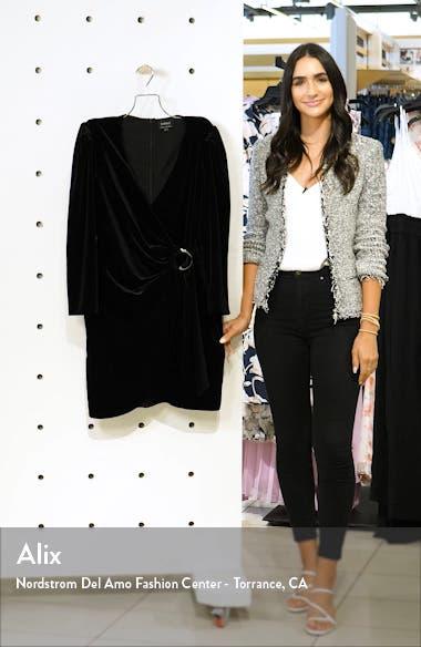 Velvet Faux Wrap Long Sleeve Minidress, sales video thumbnail