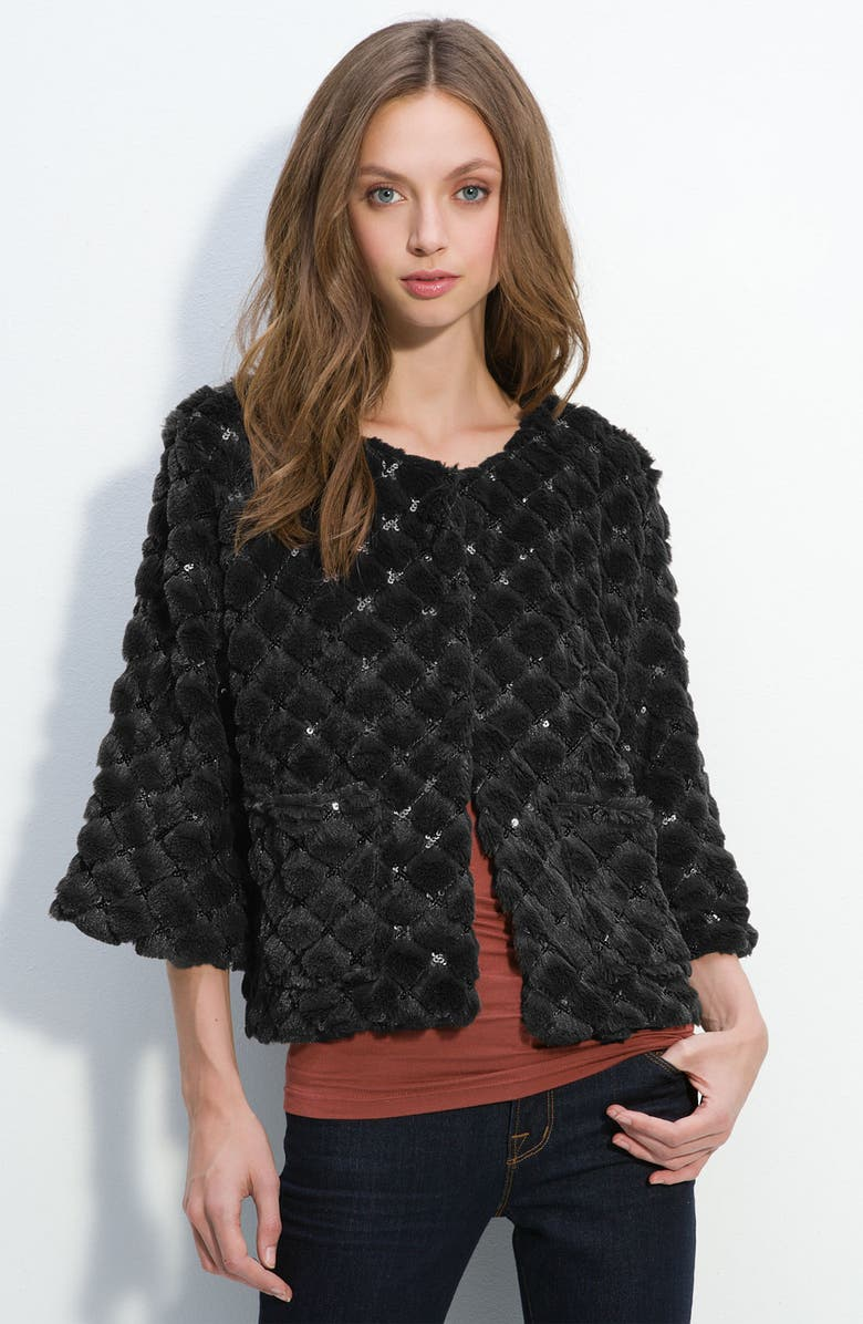 COLLECTION XIIX Sequined Faux Fur Jacket, Main, color, 001