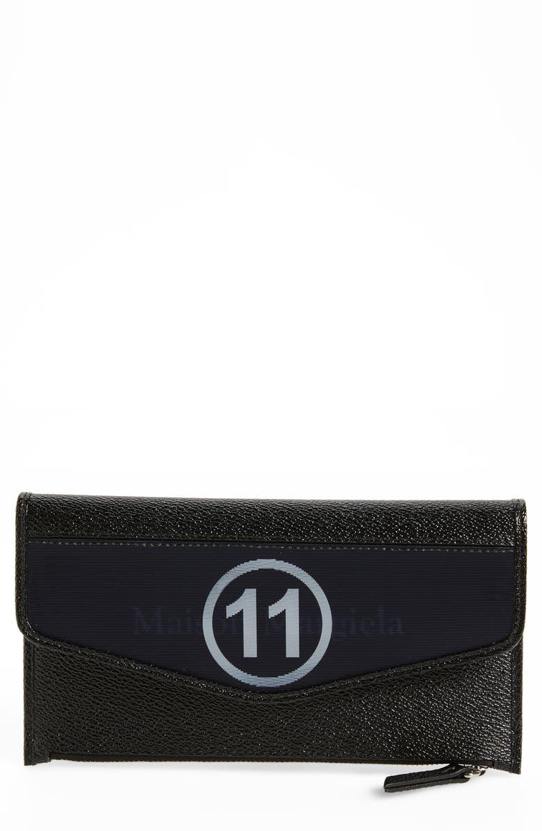 MAISON MARGIELA Hologram Faux Leather Phone Wallet, Main, color, BLACK