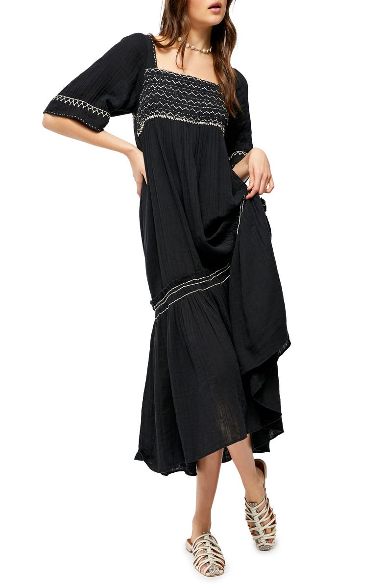 FREE PEOPLE I'm the One High/Low Dress, Main, color, BLACK