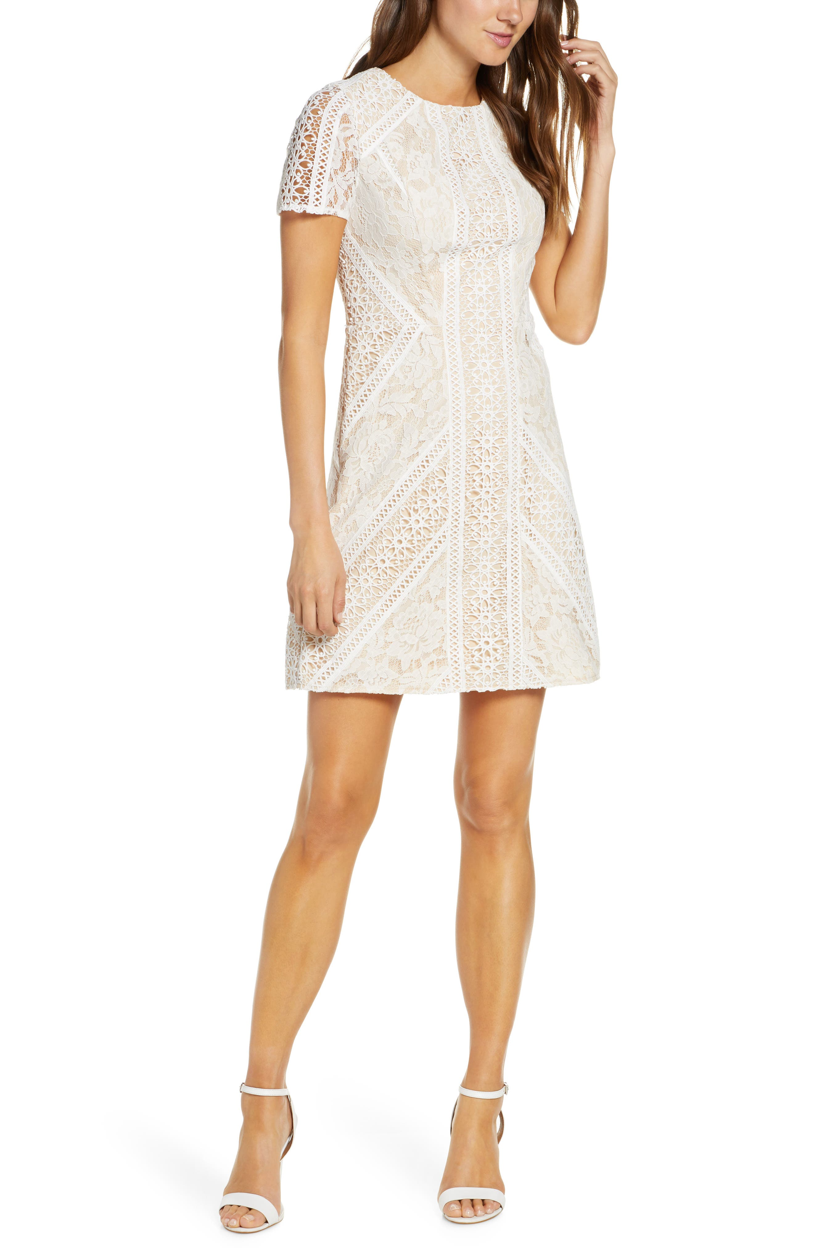 Eliza J Lace Short Sleeve Shift Dress, Ivory