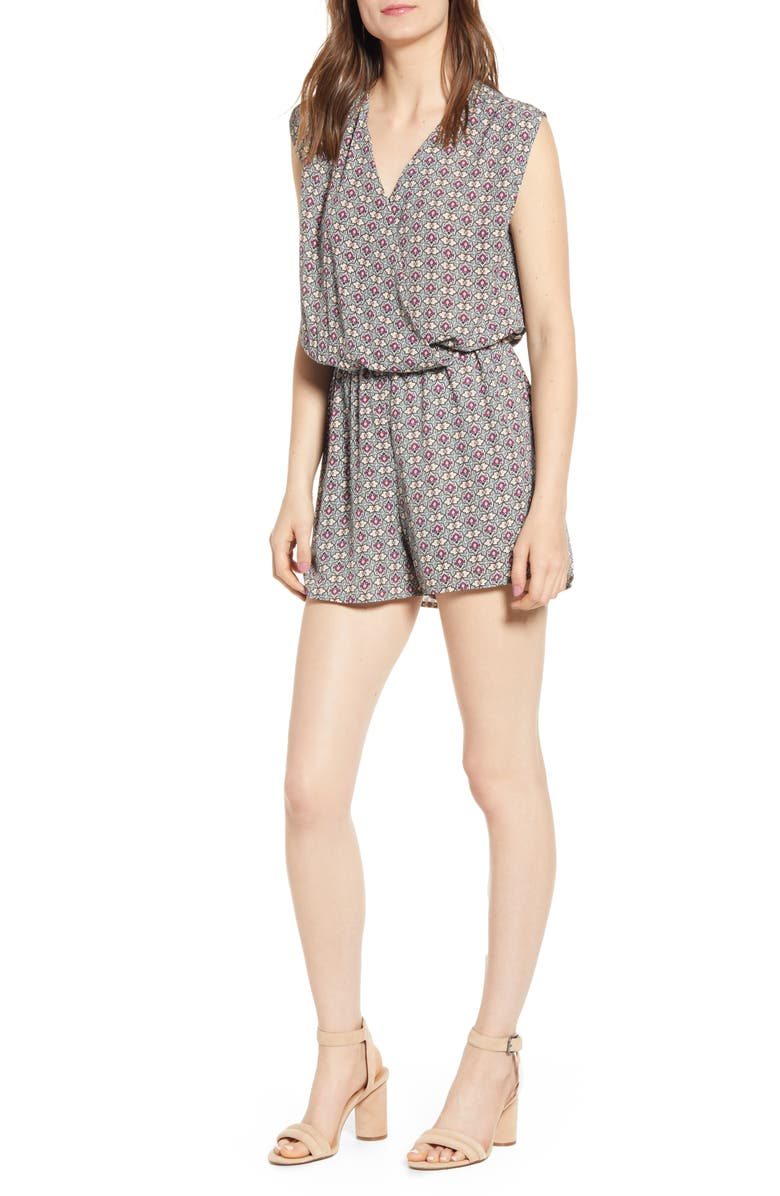 BISHOP + YOUNG Mosaic Surplice Romper, Main, color, MOSAIC PRINT