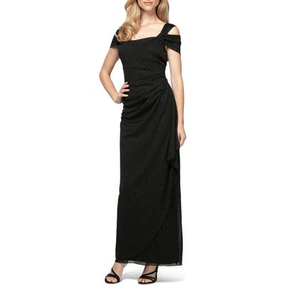 Petite Alex Evenings Cold Shoulder Chiffon Gown, Black