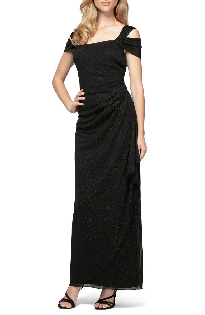 ALEX EVENINGS Cold Shoulder Chiffon Gown, Main, color, BLACK