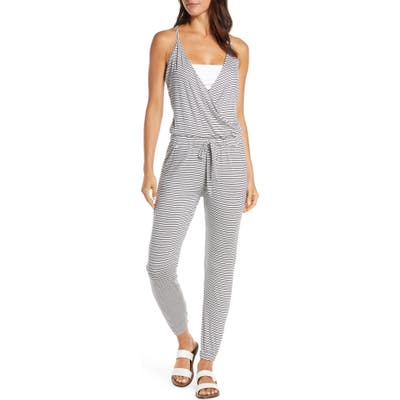 Elan Surplice Cover-Up Jumpsuit, Blue