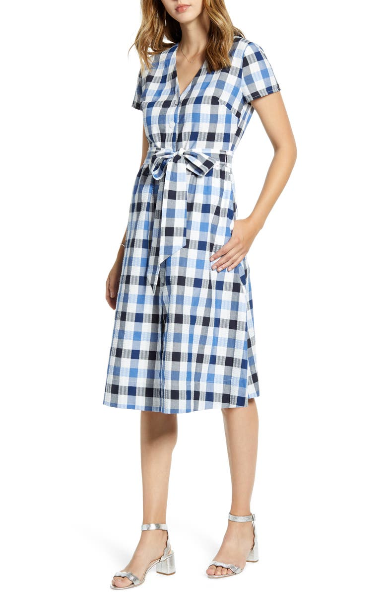 1901 Check Tie Waist Short Sleeve Dress, Main, color, BLUE MULTI CHECK