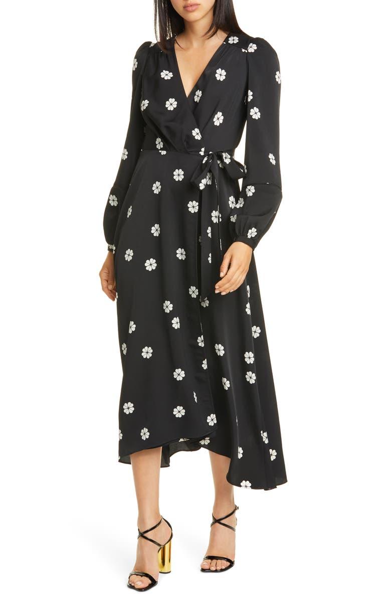 KATE SPADE NEW YORK clover toss long sleeve wrap dress, Main, color, BLACK