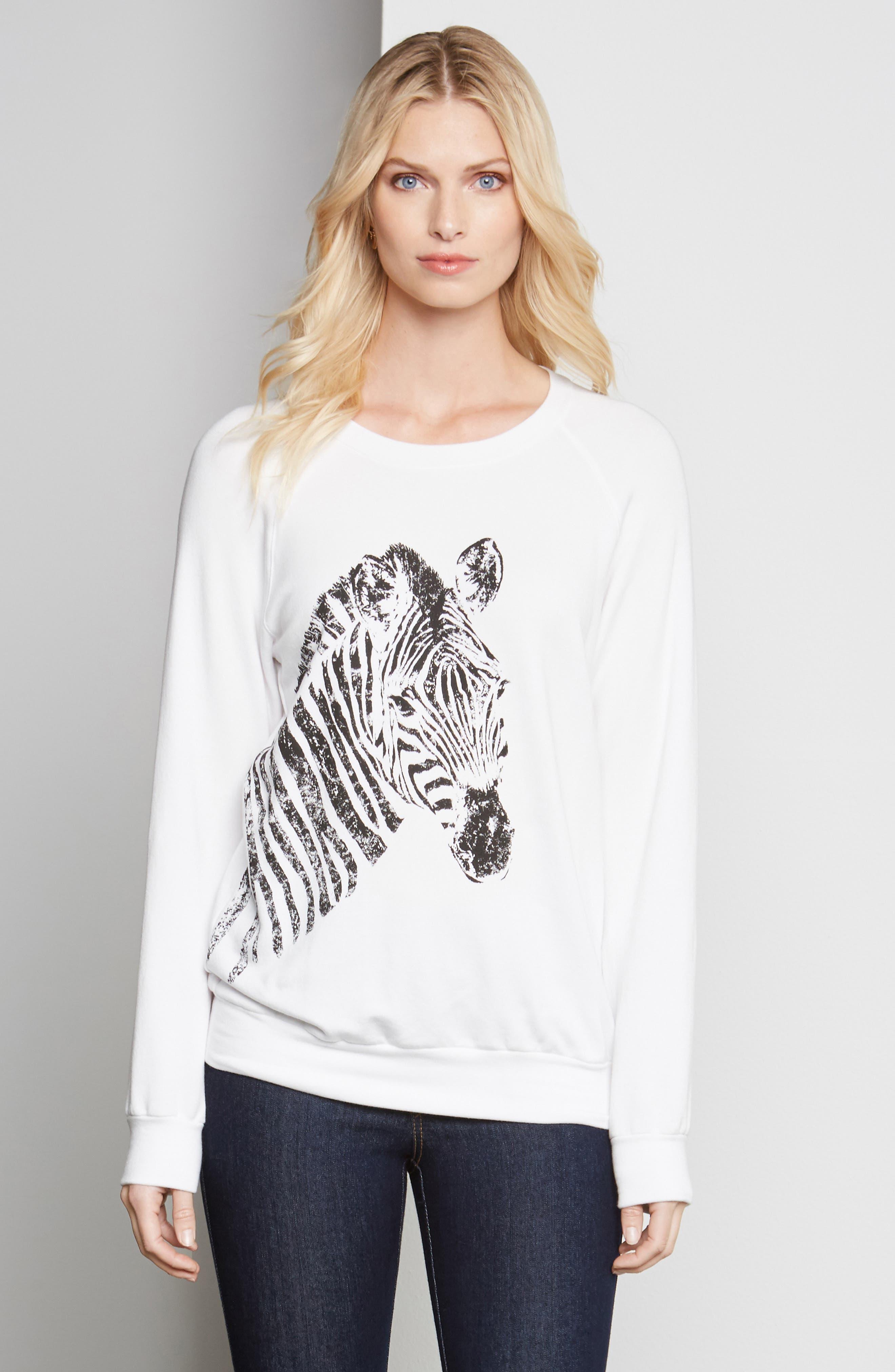 ,                             Zebra Print Sweatshirt,                             Alternate thumbnail 4, color,                             100