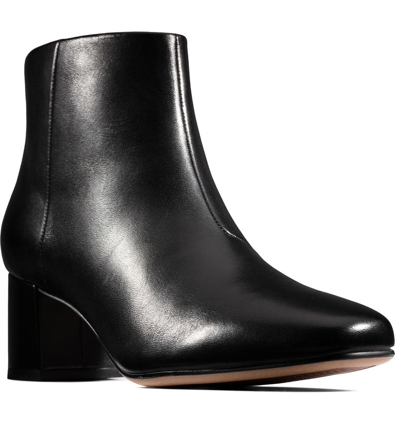CLARKS<SUP>®</SUP> Sheer Flora Bootie, Main, color, BLACK LEATHER