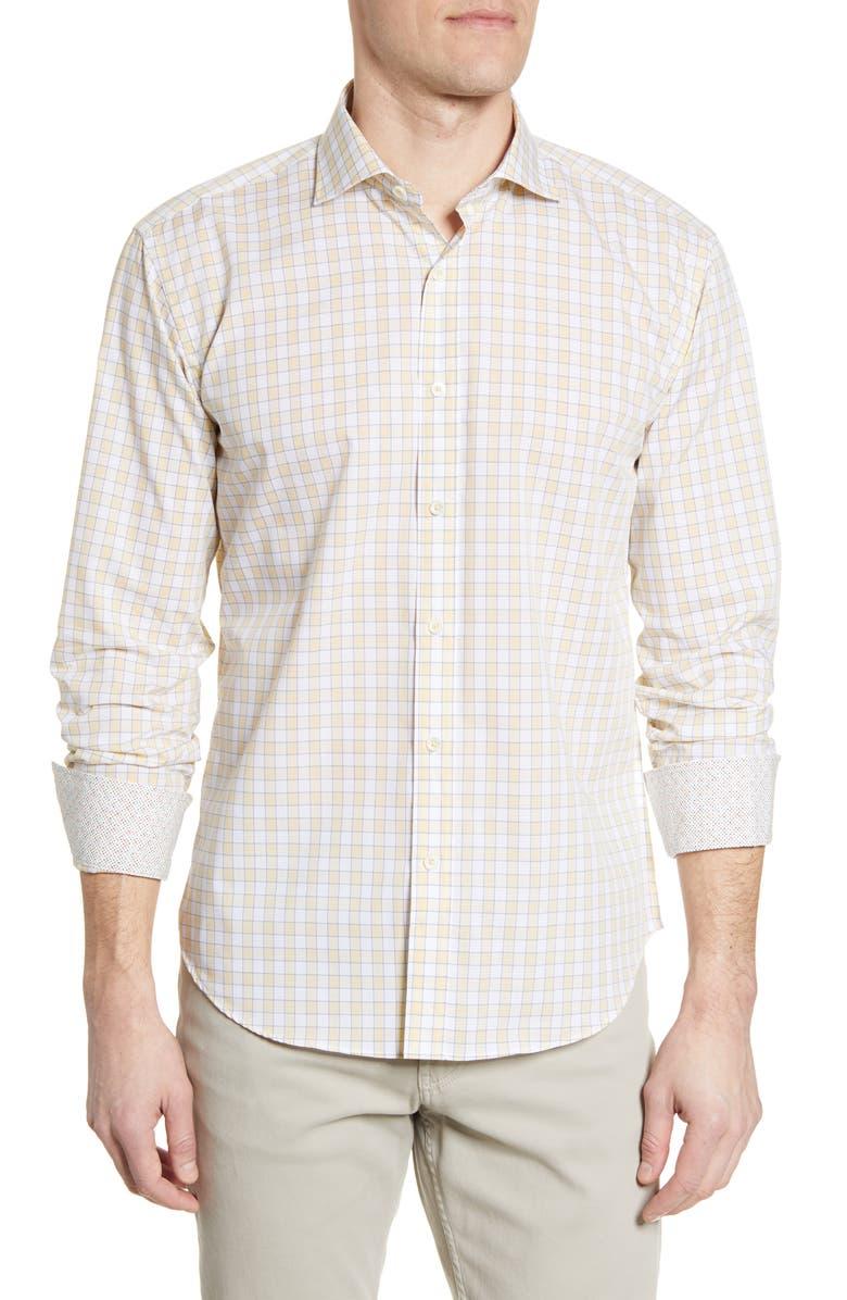 BUGATCHI Shaped Fit Check Button-Up Shirt, Main, color, LEMON