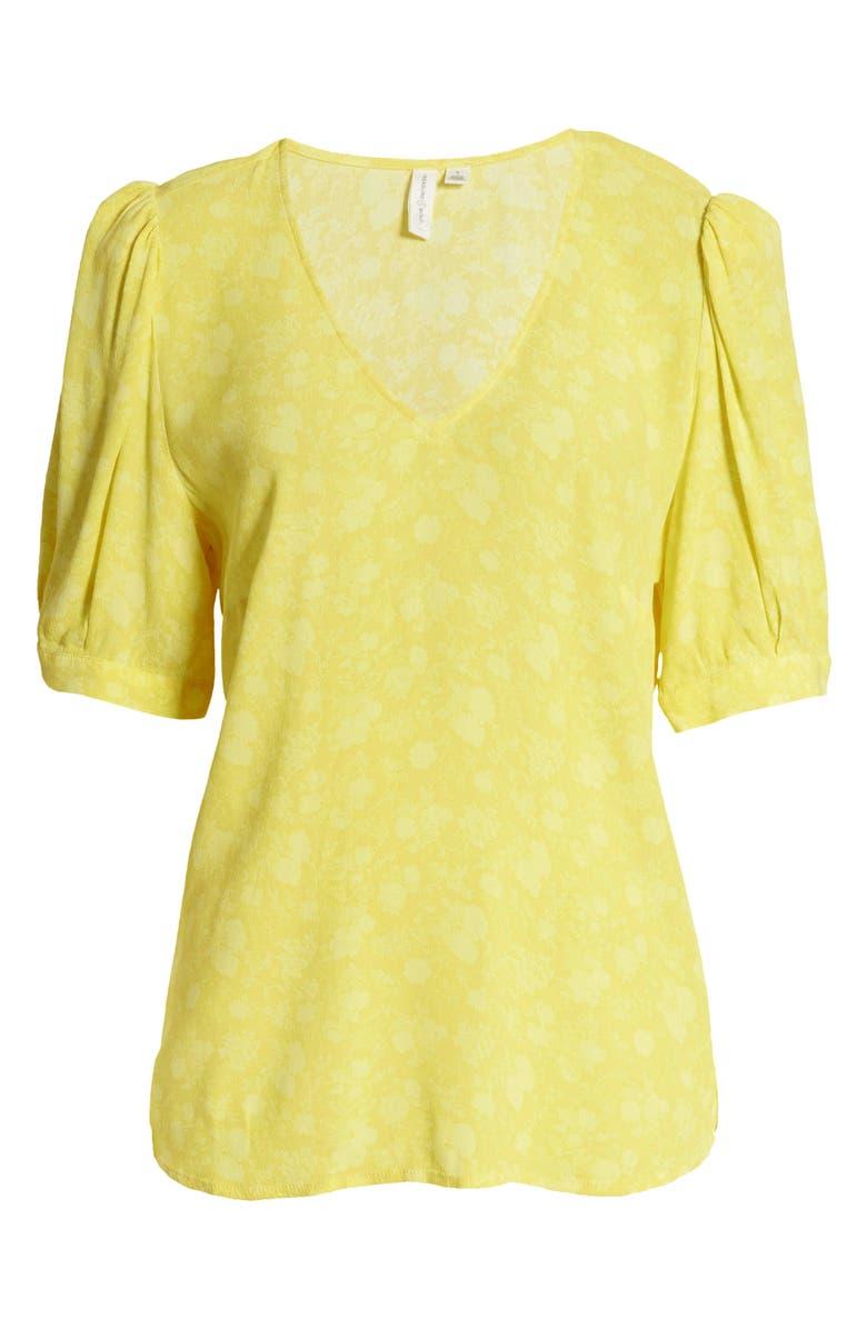 TREASURE & BOND Floral Print V-Neck Blouse, Main, color, YELLOW GRETA FLORAL