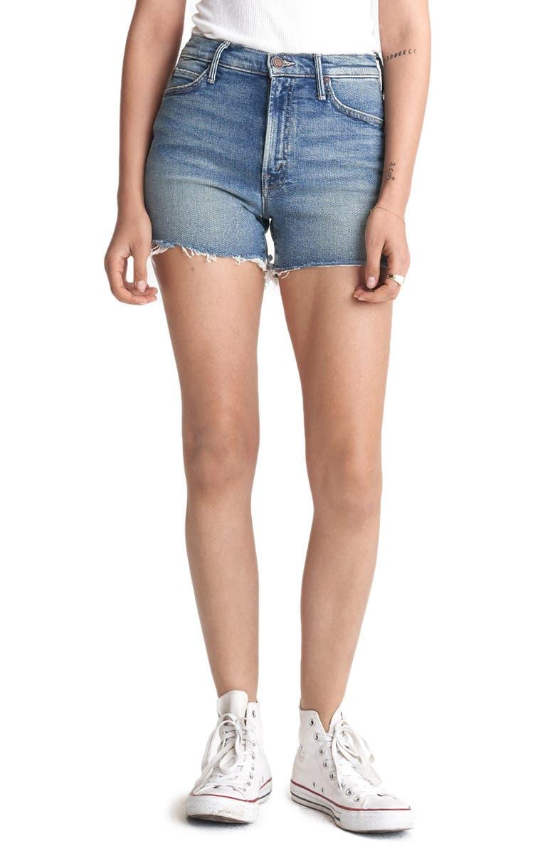 MOTHER Rascal High Waist Slit Fray Hem Denim Shorts, Main, color, 420