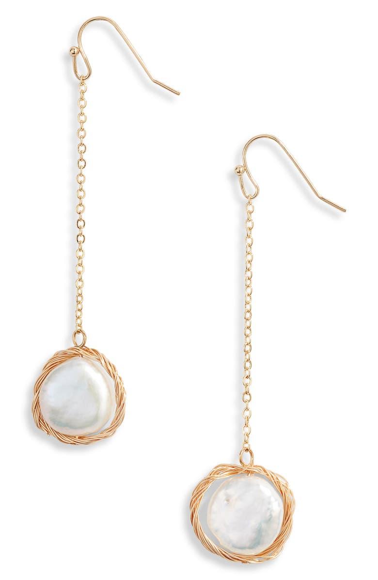 TEN79LA Genuine Pearl Drop Earrings, Main, color, 710