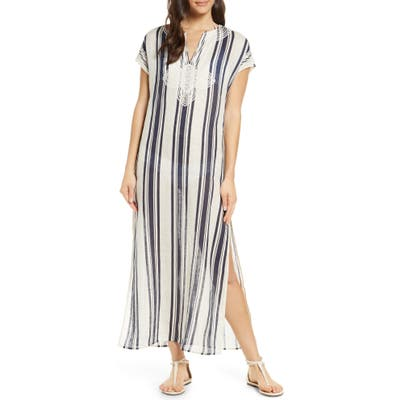 Tory Burch Awning Stripe Cover-Up Caftan, Blue