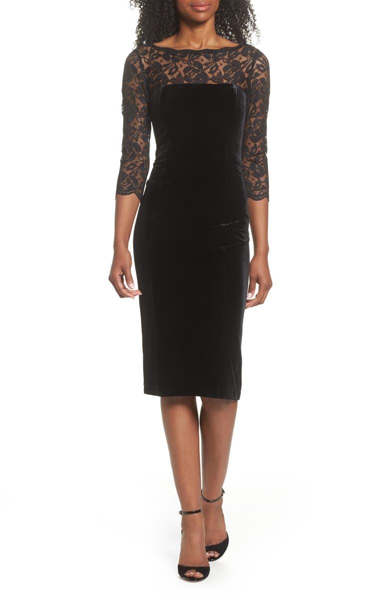 ELIZA J Lace & Velvet Sheath Dress, Main, color, BLACK