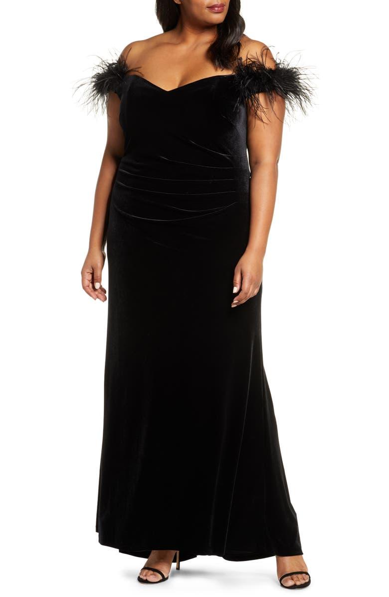 ELIZA J Off the Shoulder Feather Gown, Main, color, BLACK