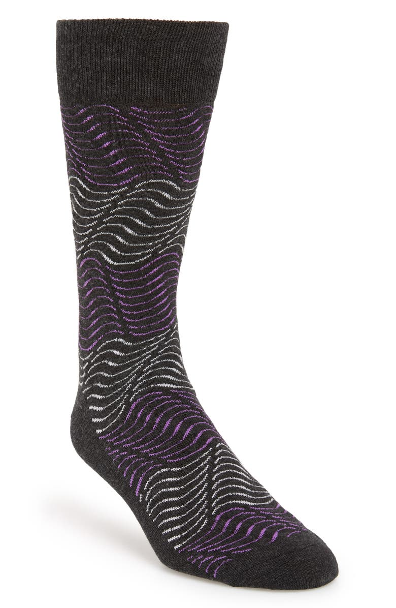 NORDSTROM MEN'S SHOP Blocked Waves Socks, Main, color, GREY/ FUCHSIA