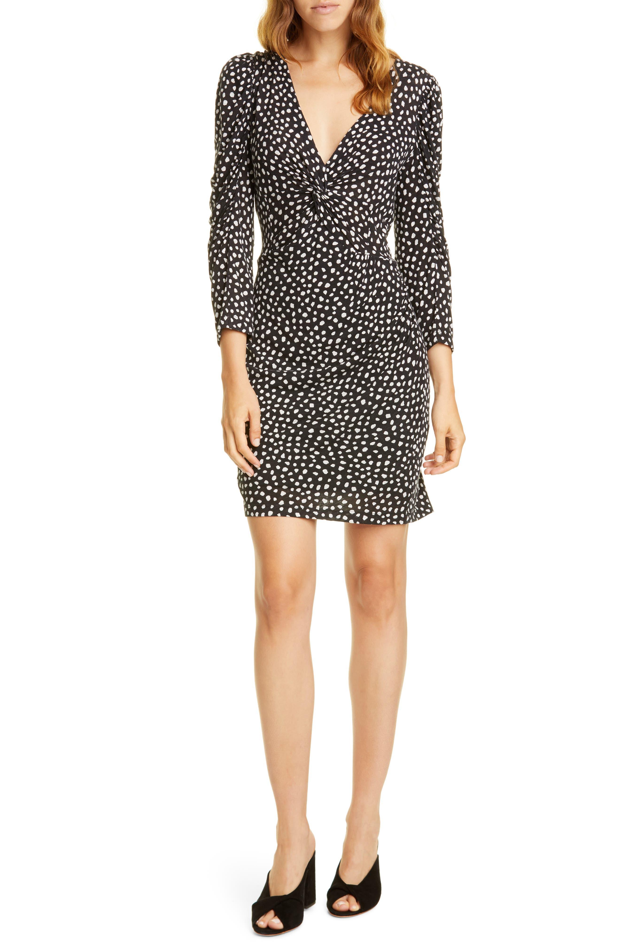 Image of Rebecca Taylor Dot Jersey Long Sleeve Dress