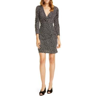 Rebecca Taylor Long Sleeve Dot Jersey Minidress, Black