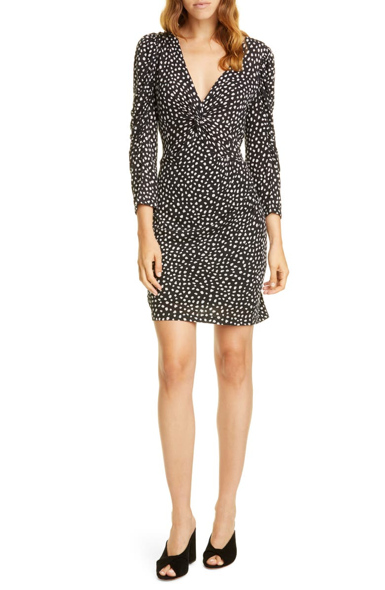 REBECCA TAYLOR Long Sleeve Dot Jersey Minidress, Main, color, BLACK