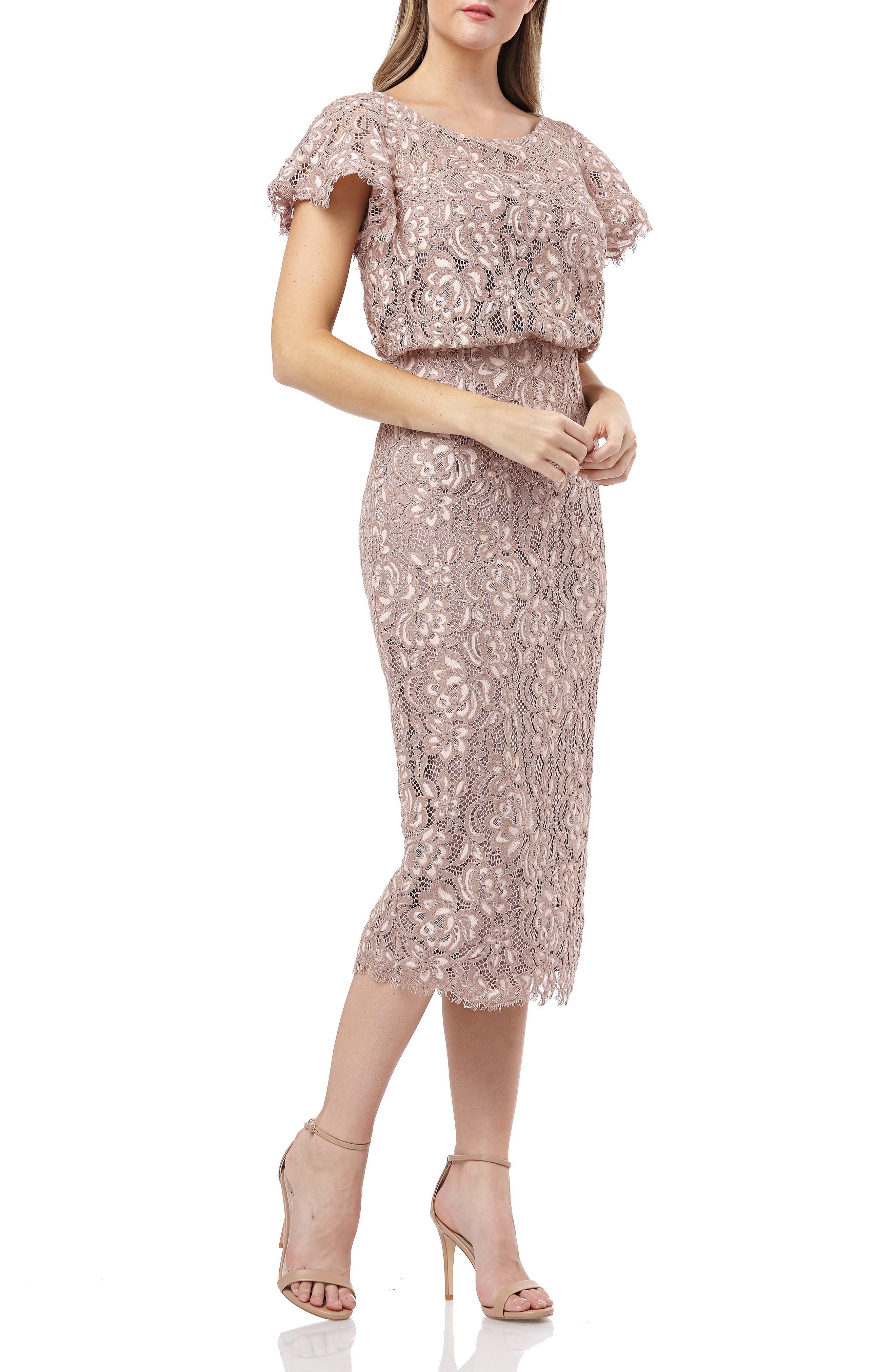 Js Collections Embroidered Lace Blouson Cocktail Dress, Pink