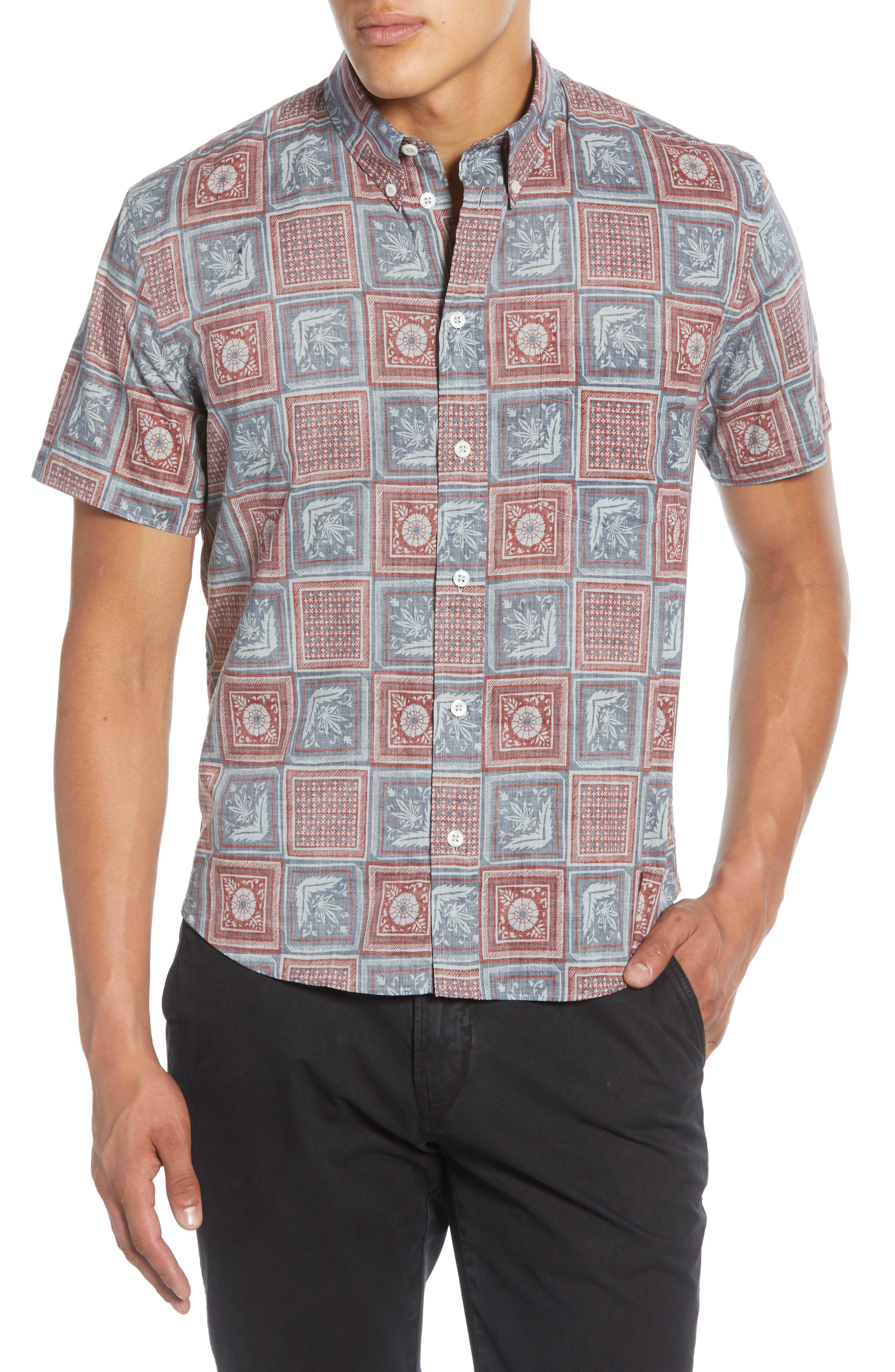 Image of Billy Reid Kirby Savannah Tile Short Sleeve Slim Fit Shirt