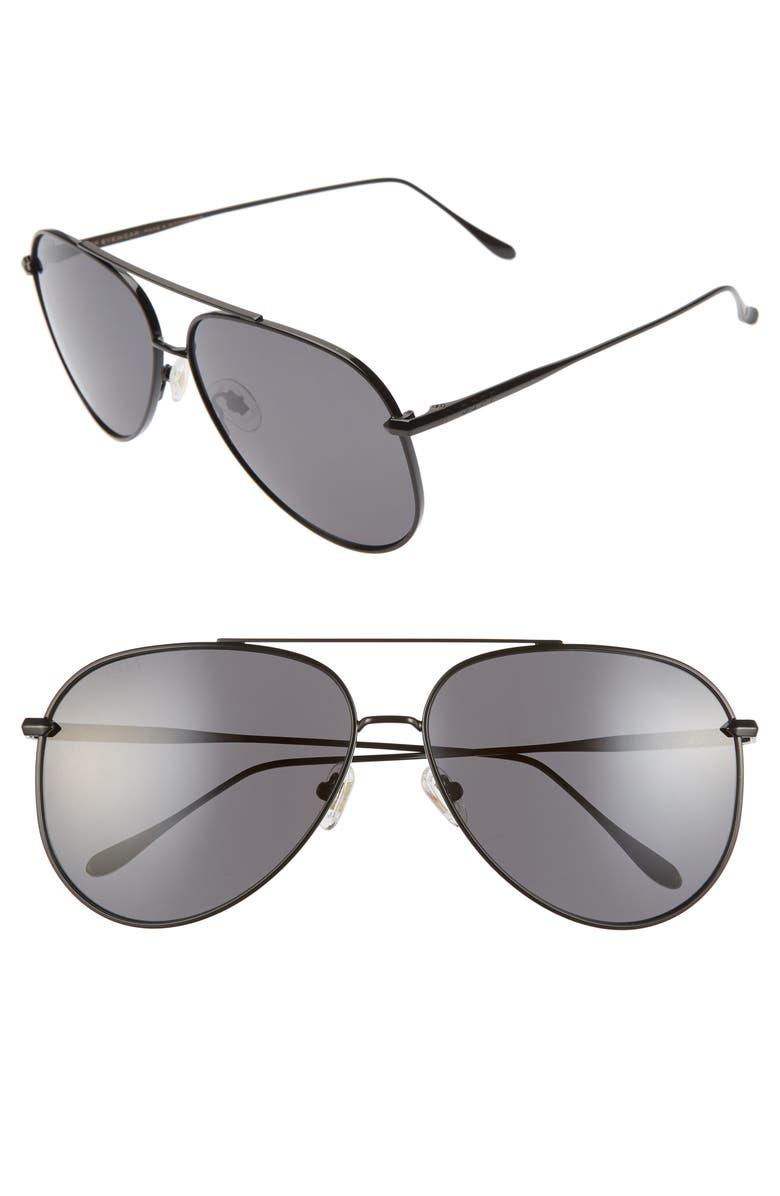 DIFF Nala 63mm Oversize Aviator Sunglasses, Main, color, BLACK/ GREY