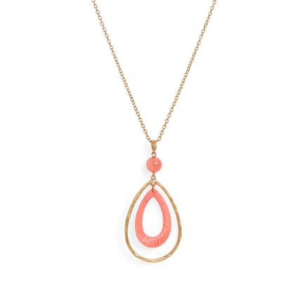 Canvas Jewelry Wrapped Teardrop Pendant Necklace