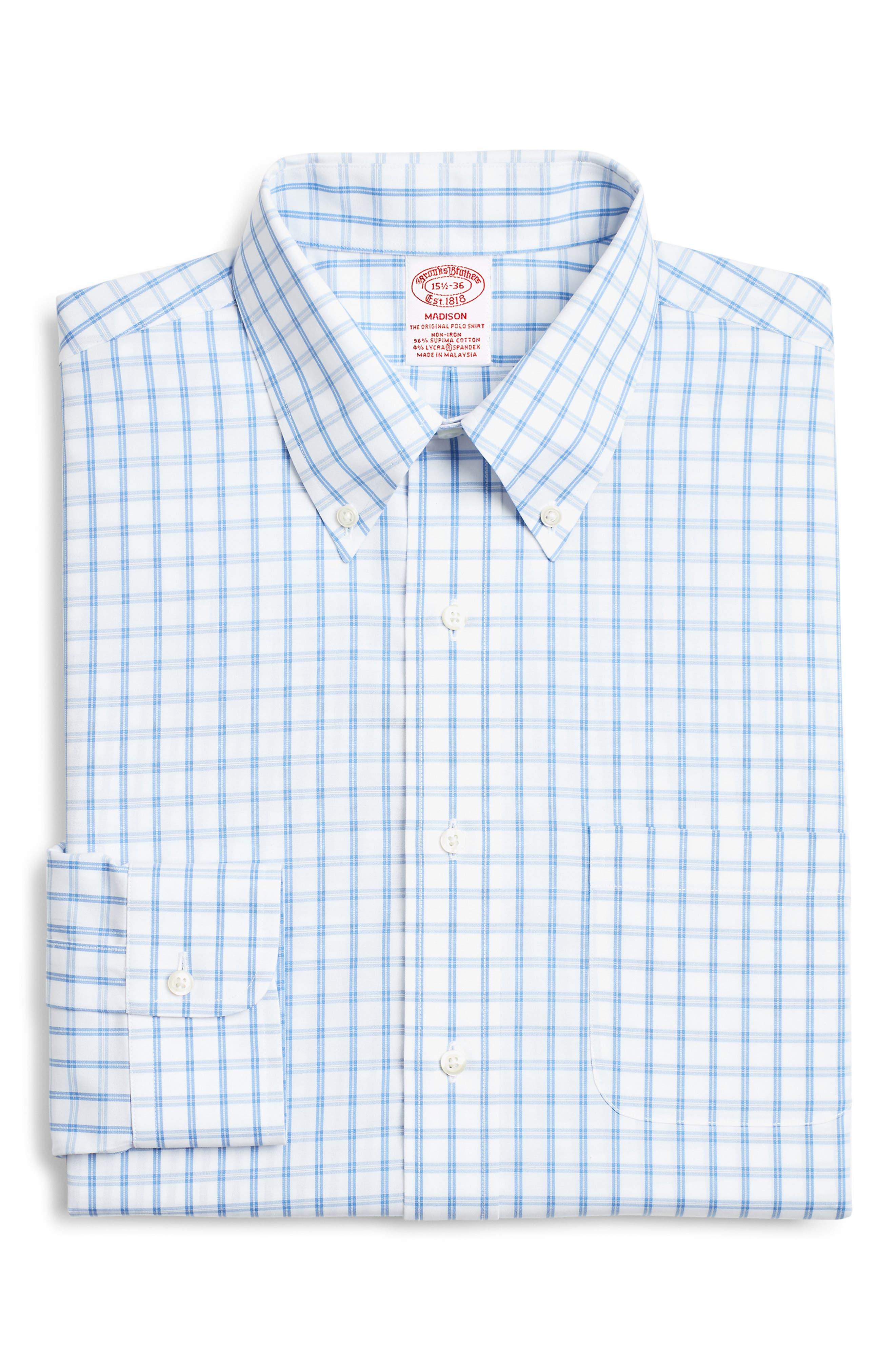 Brooks Brothers Madison Classic Fit Windowpane Dress Shirt