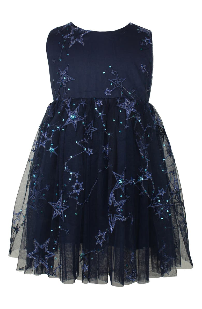 POPATU Embroidered Star Tulle Dress, Main, color, 410