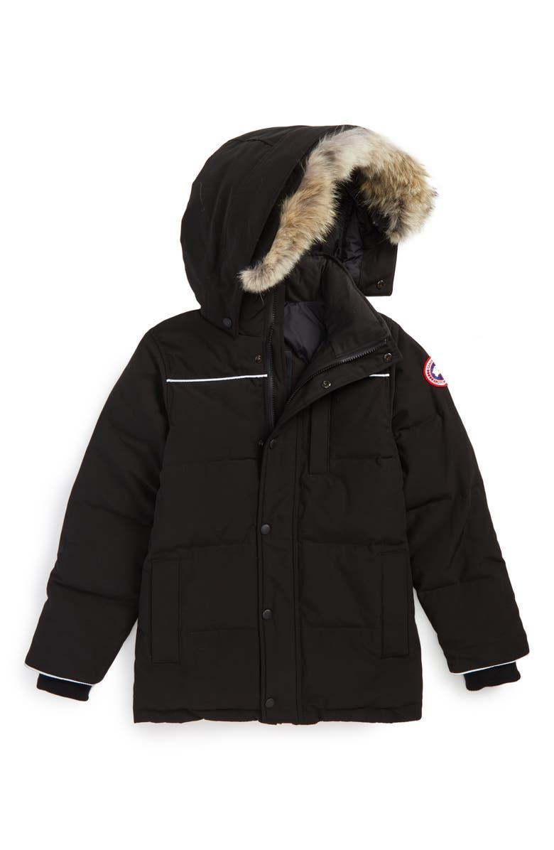 CANADA GOOSE Eakin Genuine Coyote Fur Trim Down Parka, Main, color, BLACK