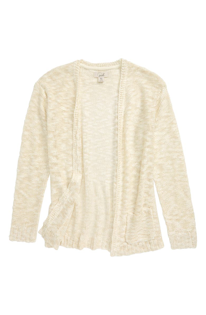 PEEK AREN'T YOU CURIOUS Open Front Cardigan, Main, color, OFF-WHITE