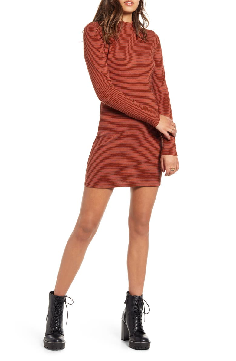 BP. Stripe Ribbed Long Sleeve Minidress, Main, color, BROWN SPICE TEGAN STRIPE