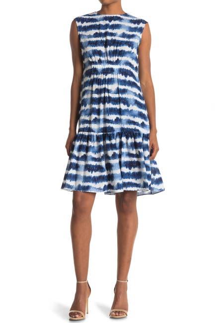 Image of TASH + SOPHIE Extended Shoulder Flounce Dress