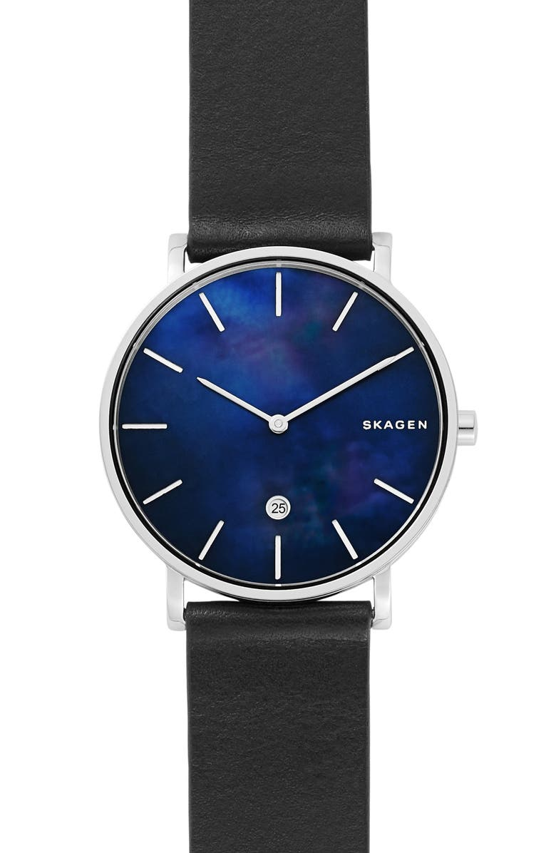 SKAGEN Hagen Slim Leather Strap Watch, 40mm, Main, color, BLACK/ MOP/ SILVER