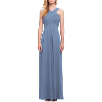 #levkoff Crisscross Bodice Chiffon Gown, Blue
