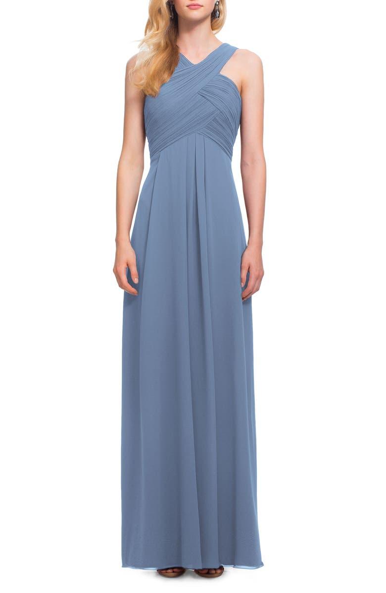 #LEVKOFF Crisscross Neck Chiffon A-Line Gown, Main, color, SLATE