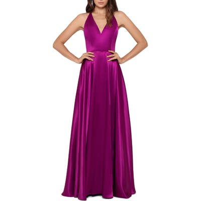 Betsy & Adam Tie Back Satin Princess Gown, Pink