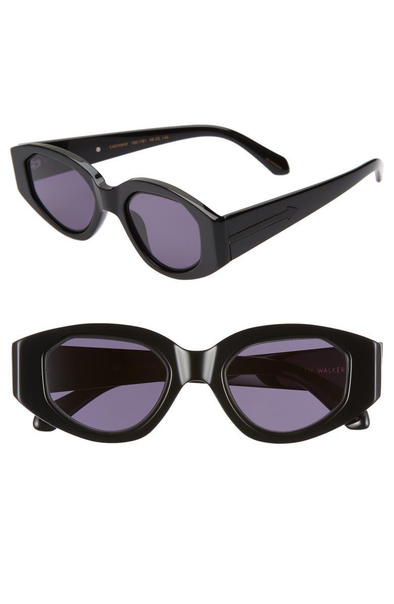 KAREN WALKER Castaway 48mm Round Sunglasses, Main, color, BLACK/ SMOKE