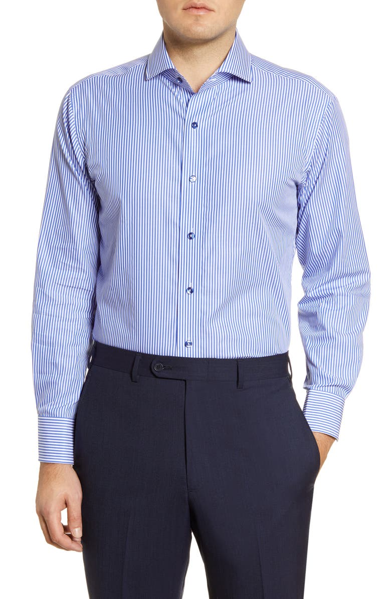 LORENZO UOMO Trim Fit Bengal Stripe Dress Shirt, Main, color, FRENCH BLUE