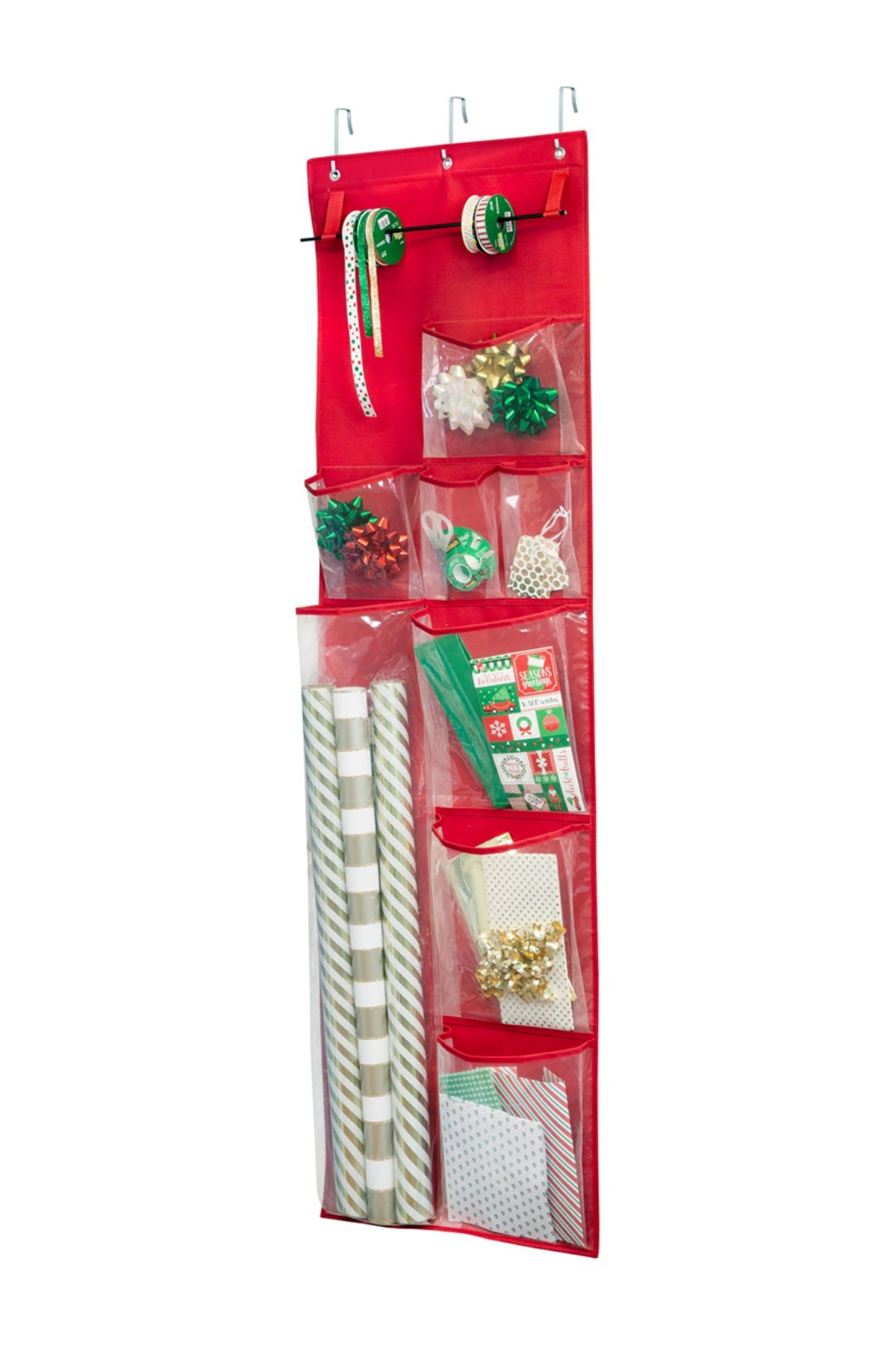 Image of Honey-Can-Do Over the Door Holiday Wrapping Paper Organizer - Red