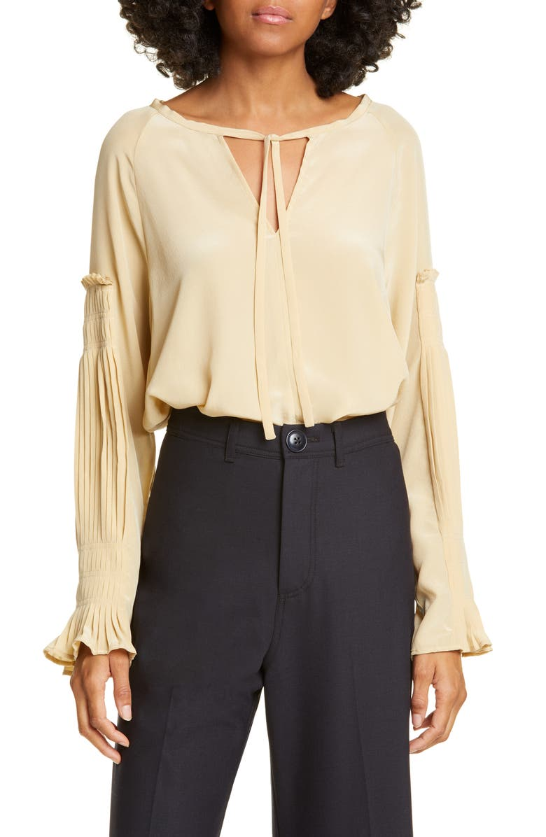SEA Solei Pleated Long Sleeve Silk Blouse, Main, color, NUDE/ WHITE