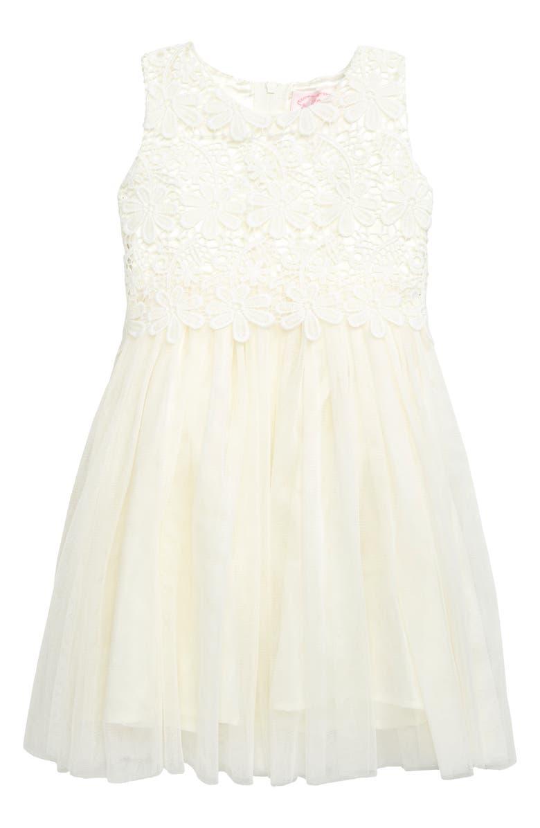 POPATU Lace Tulle Dress, Main, color, 100