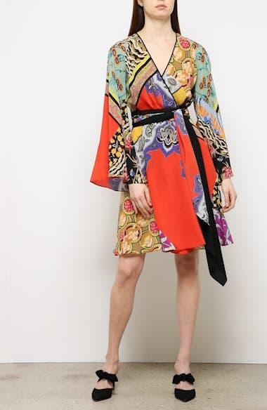 Collage Print Silk Wrap Dress, video thumbnail