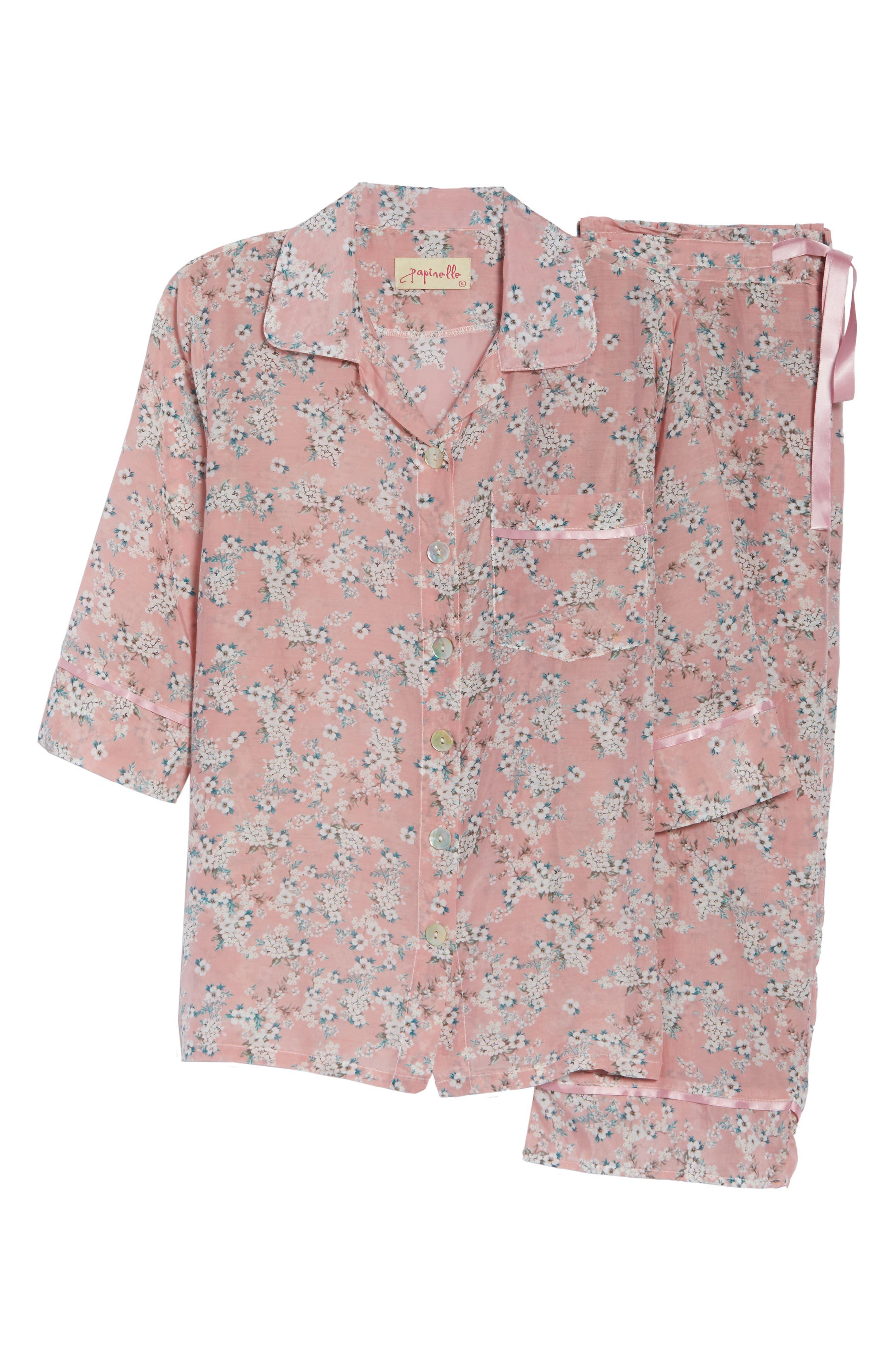 ,                             Isabelle Cotton & Silk Crop Pajamas,                             Alternate thumbnail 6, color,                             DARK PINK