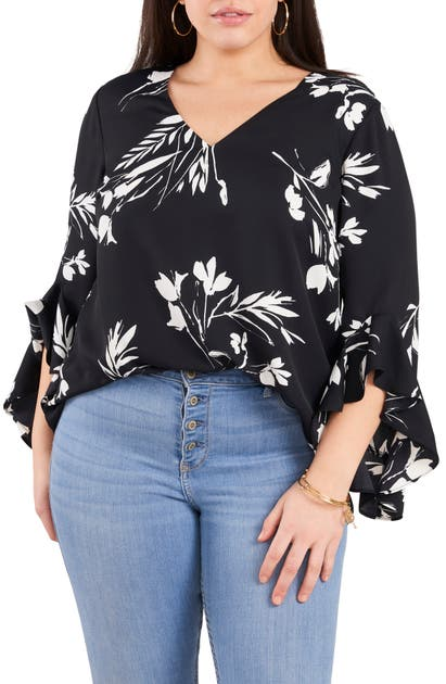 Vince Camuto FLORAL TUNIC TOP